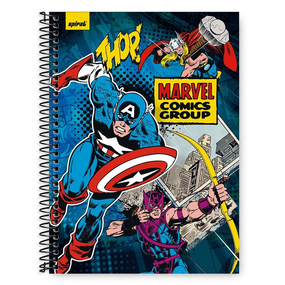 Caderno Universitário Capa Dura 1x1 96 fls Marvel 20306 Spiral Mv PT 1 UN