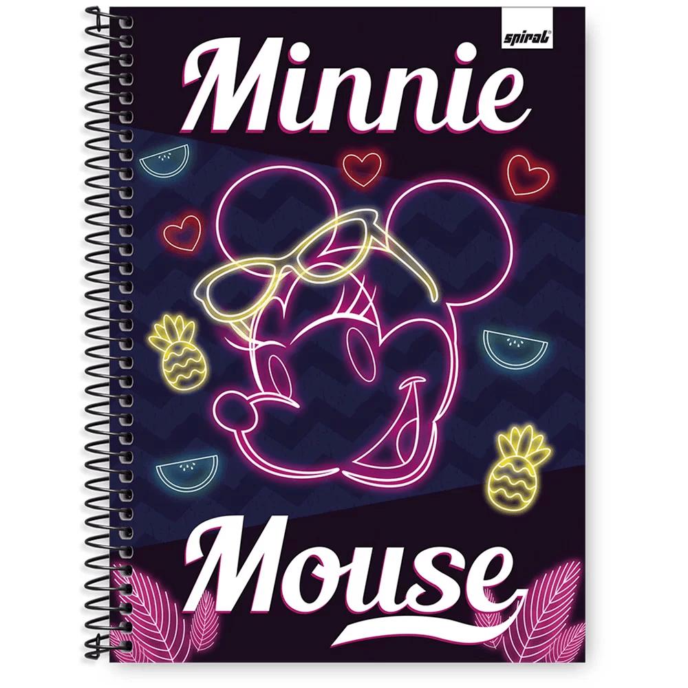 Caderno Universitário Capa Dura 1x1 96 fls Minnie Ten 20378 Spiral Mte PT 1 UN