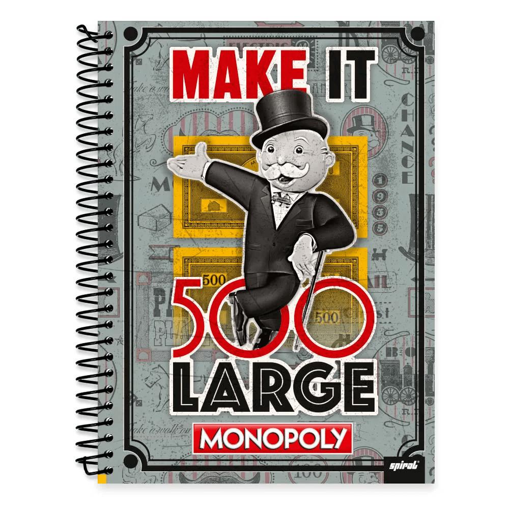 Caderno Universitário Capa Dura 1x1 96 fls Monopoly 19804 Spiral Mnp PT 1 UN