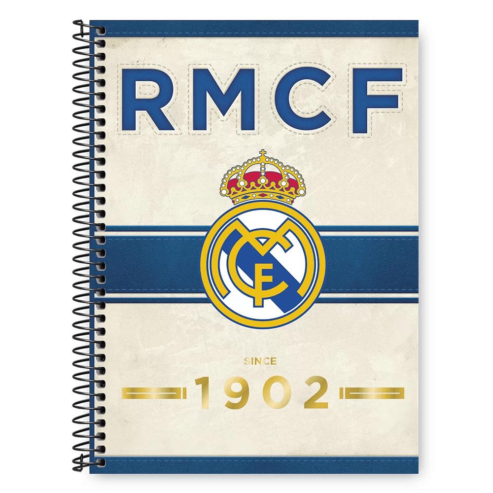 Caderno Universitário Capa Dura 1x1 96 fls Real Madrid 20341 Spiral Rea PT 1 UN