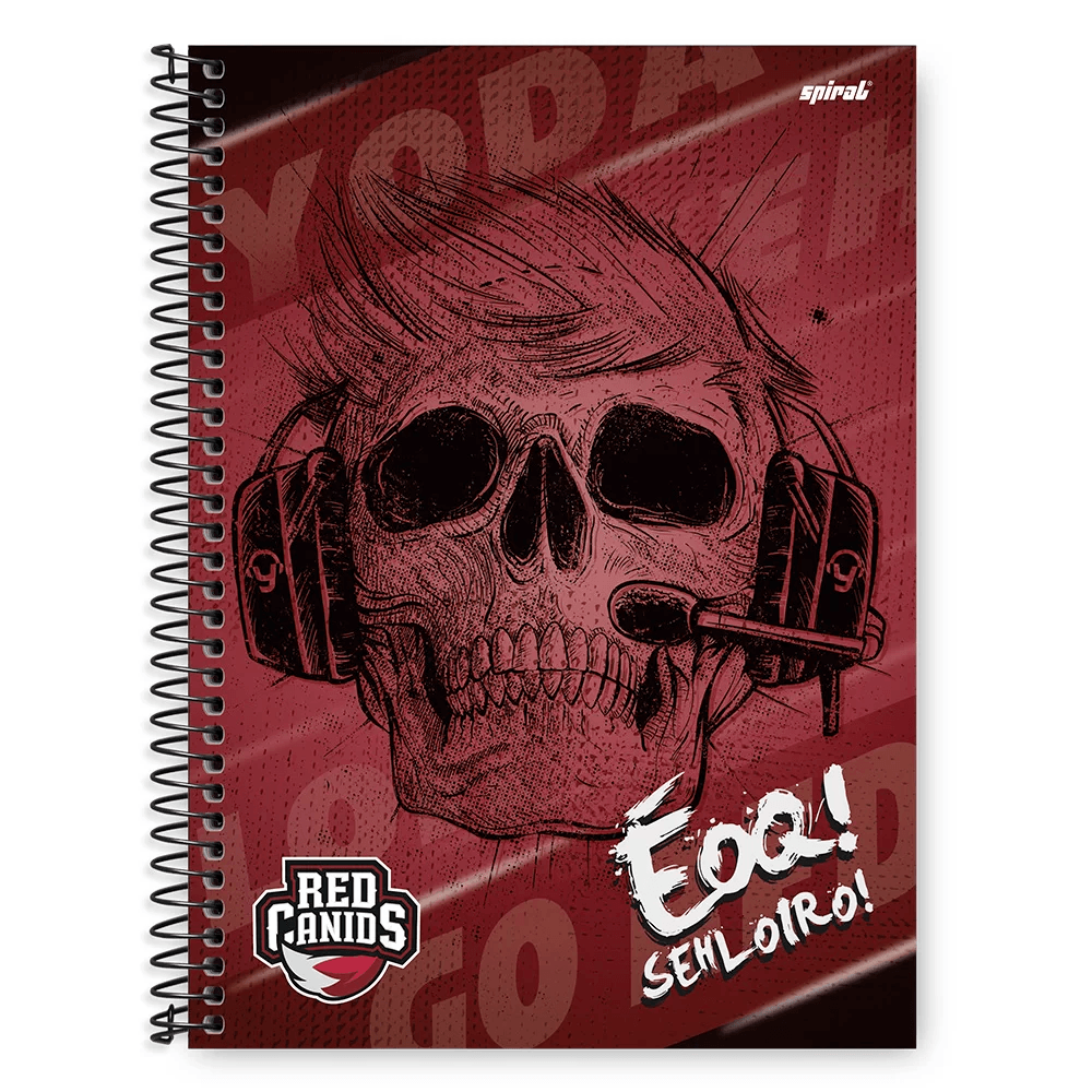 Caderno Universitário Capa Dura 1x1 96 fls Red Canids 20344 Spiral Red PT 1 UN