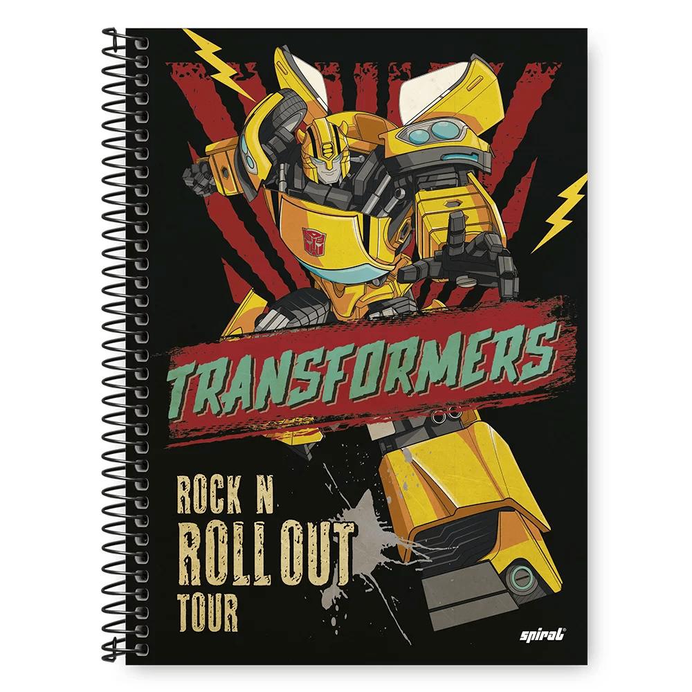 Caderno Universitário Capa Dura 1x1 96 fls Transformers 20352 Spiral Trf PT 1 UN