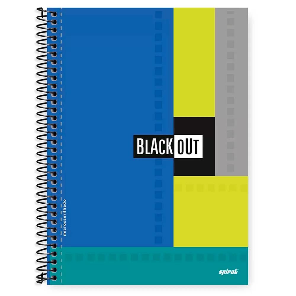 Caderno universitário capa dura 1x1 96 folhas Black Out Azul Spiral PT 1 PT