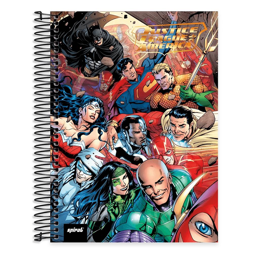 Caderno Universitário capa dura 20x1 400fl Liga da Justiça 20668 Spiral Lig UN 1 UN