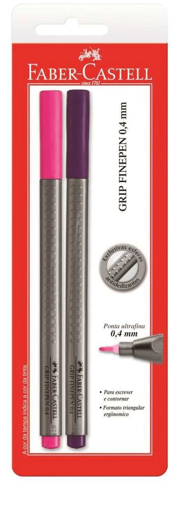 Caneta Com Ponta Porosa Fine Pen Grip 0,4mm Rs/ll Faber-castell Bl.c/02