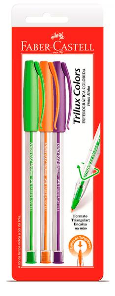 Caneta Esferográfica Trilux Colors Ponta Média C/ 3 UN - vde/lar/rox - Faber Castell
