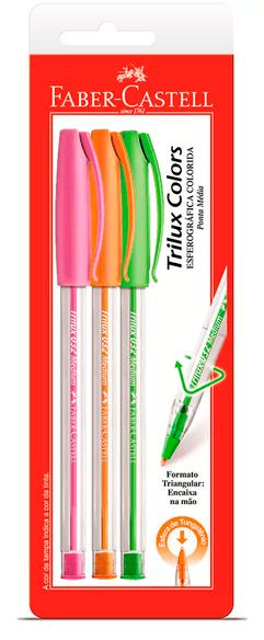Caneta Esferográfica Trilux Colors Ponta Média C/ 3 UN - ros/lar/ver - Faber Castell