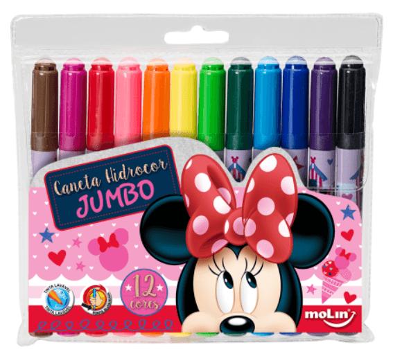Caneta Hidrocor Molin 12 Cores Jumbo Disney Minnie