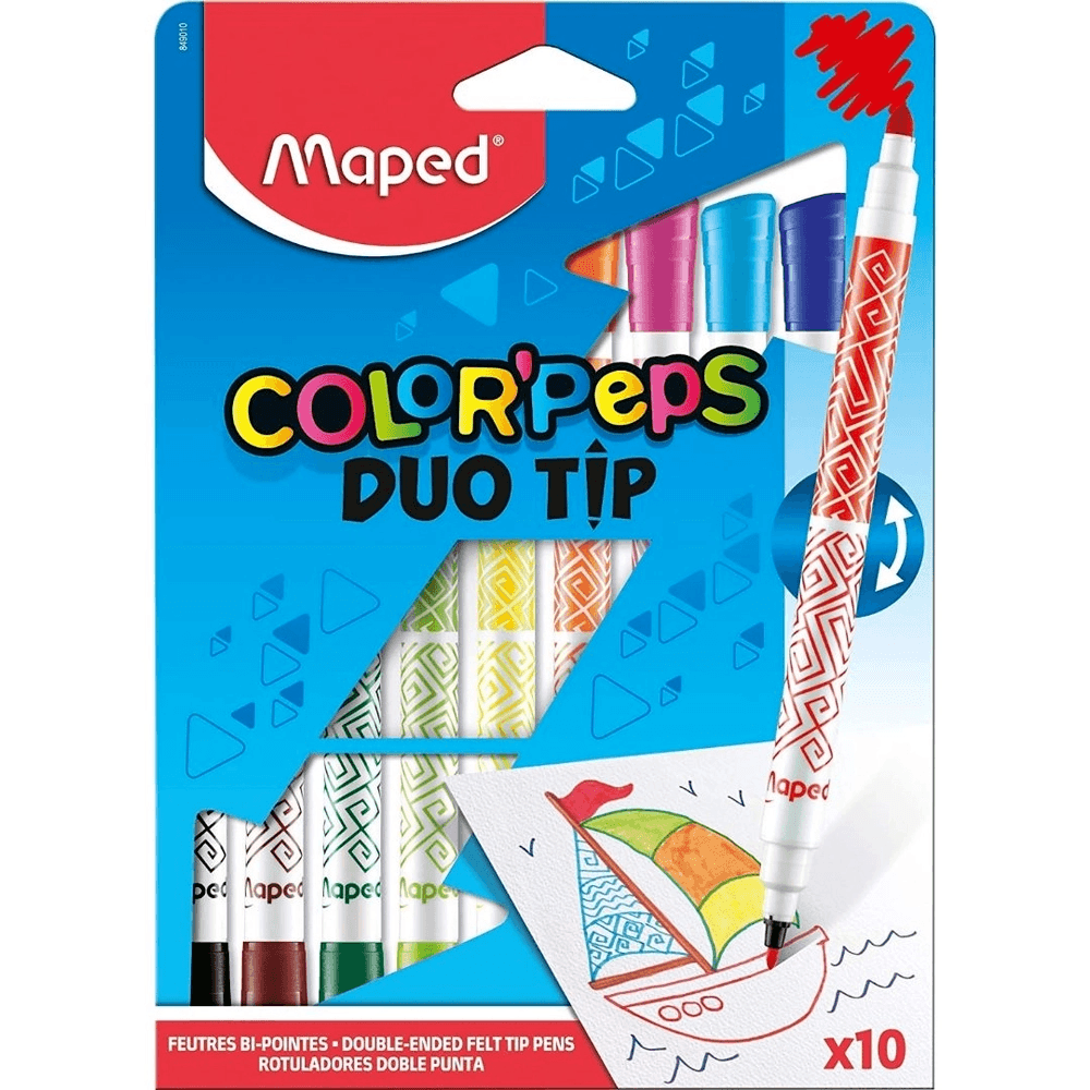 Caneta Hidrocor ColorPeps DuoTip 10 Cores - Maped