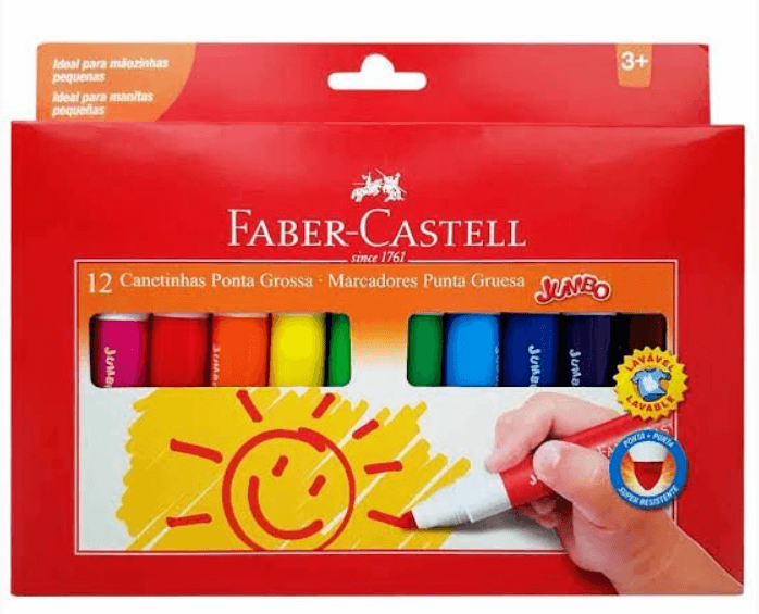 Canetinha Faber-Castell 12 Cores Jumbo 150212GZF
