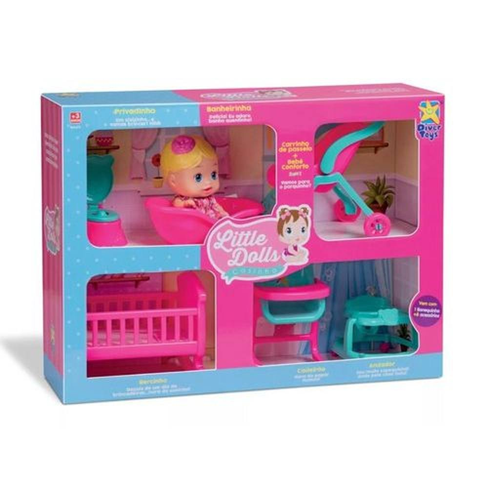 Casinha Little Dolls - 1 Boneca + 6 Acessórios - Divertoys