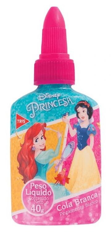 Cola Branca Escolar Princesas Com Lacre Protetor 40g Tris