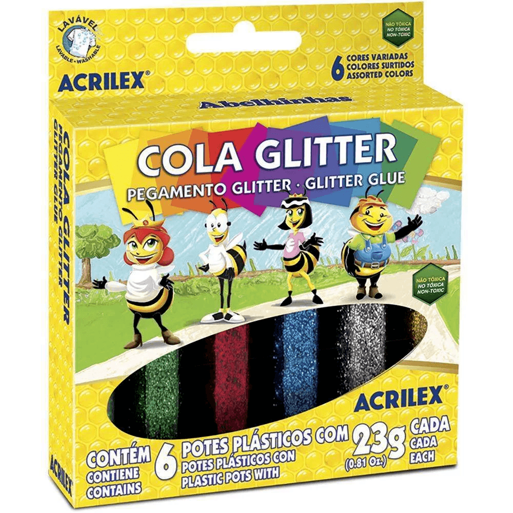 Cola colorida 23gr c/gliter 6 cores 02923 Acrilex CX 1 CJ