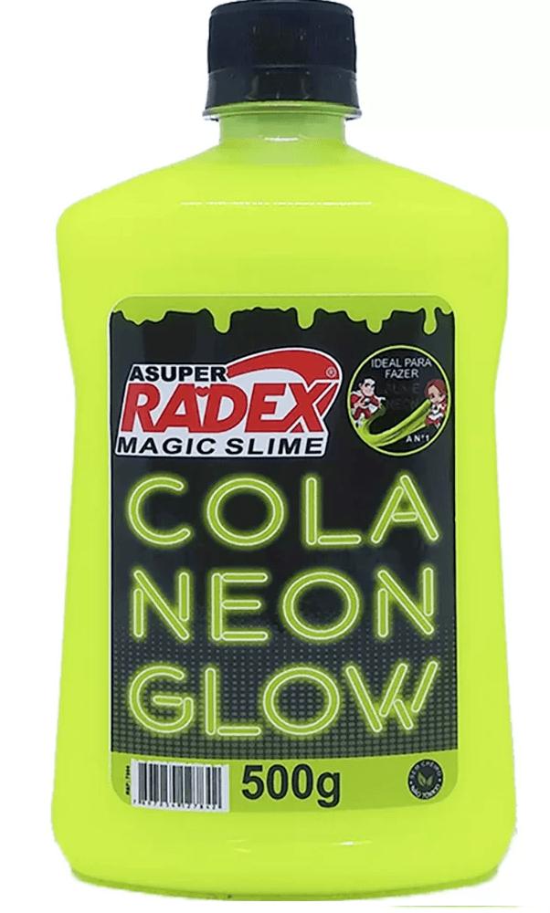 Cola para Slime 500g Glow neon amarelo 7304 Radex CX 1 UN