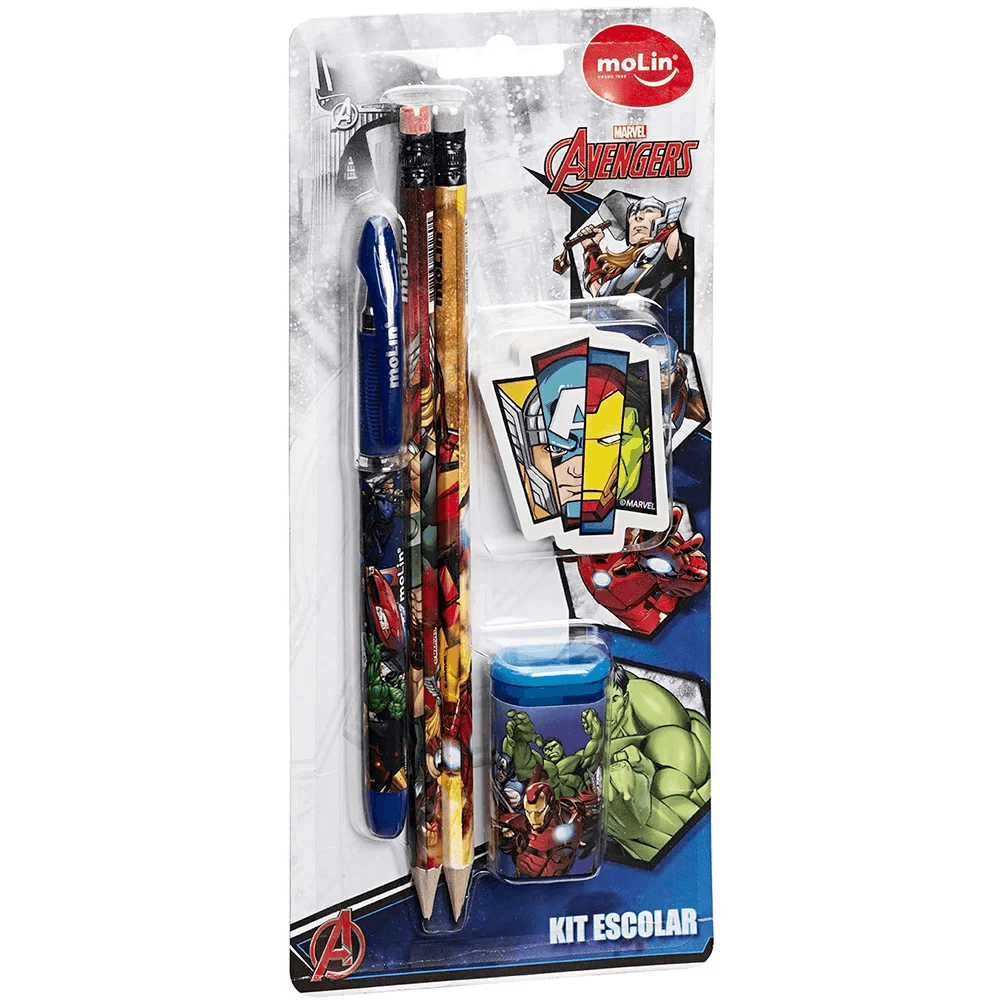 Conjunto escrita escolar Avengers c/5 itens sortido 22230 Molin BT 1 UN