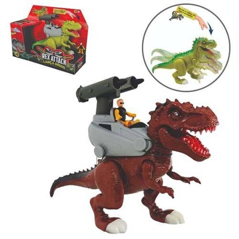 Dinossauro Rex Attack Lança Missíl - com som e luz - ADIJOMAR