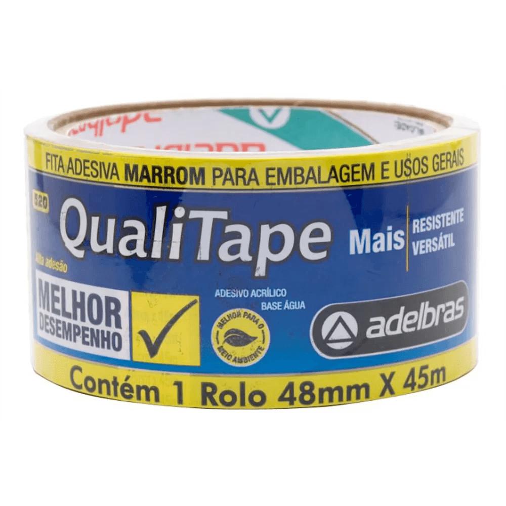 Fita adesiva marrom polipropileno 48mmx45m Qualitape Adelbras PT 1 UN