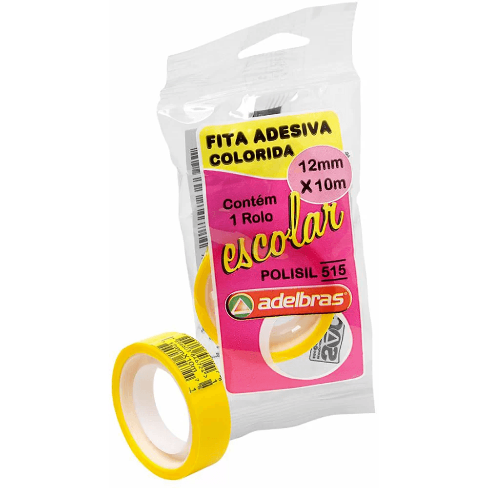 Fita adesiva polisil 12mmx10m amarela AdelbrasPT 1 UN