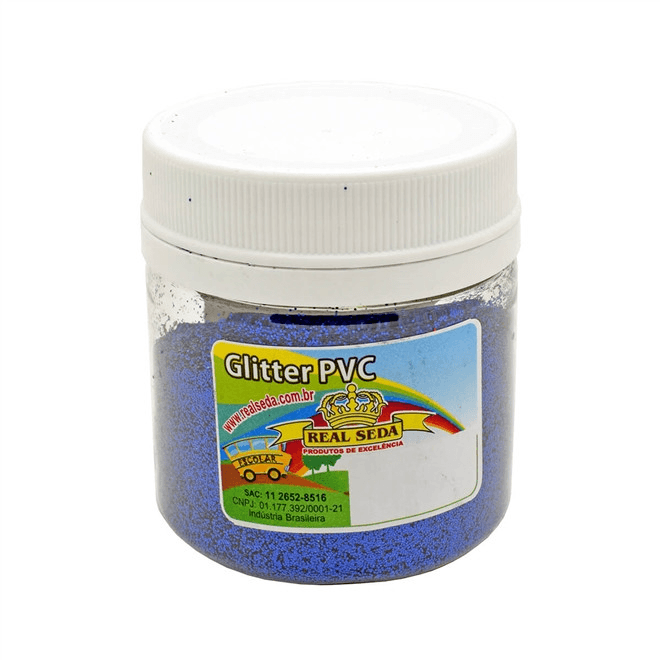 Glitter PVC Real Seda 100g - Azul