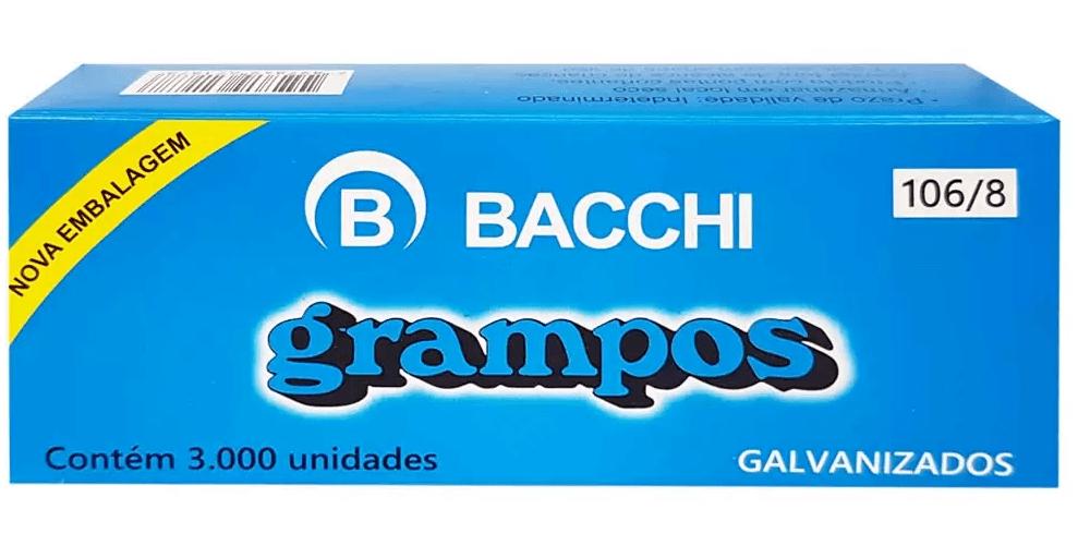 Grampo 106/8 Galvanizado Bacchi 3000 Unidades