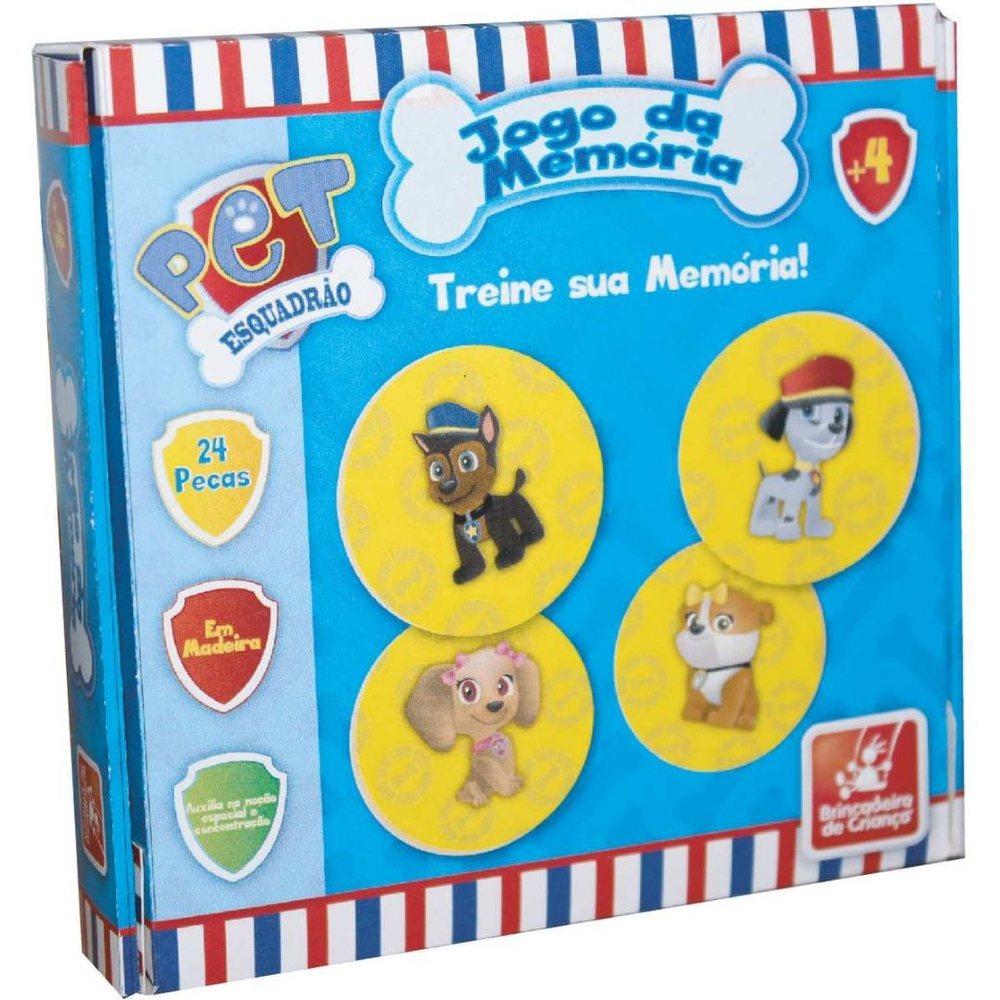 Jogo da Memória Esquadrão Pet - Em madeira - Brincadeira de Criança