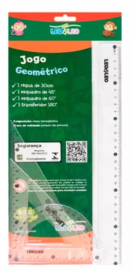 Kit Escolar Réguas Geométrico 04 Peças Leo e Leo