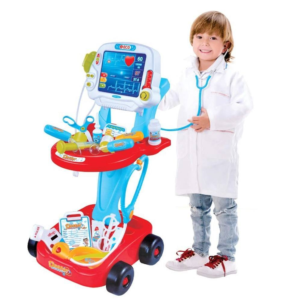 Kit Médico Azul Com Carrinho E Acessórios Mini Doutor