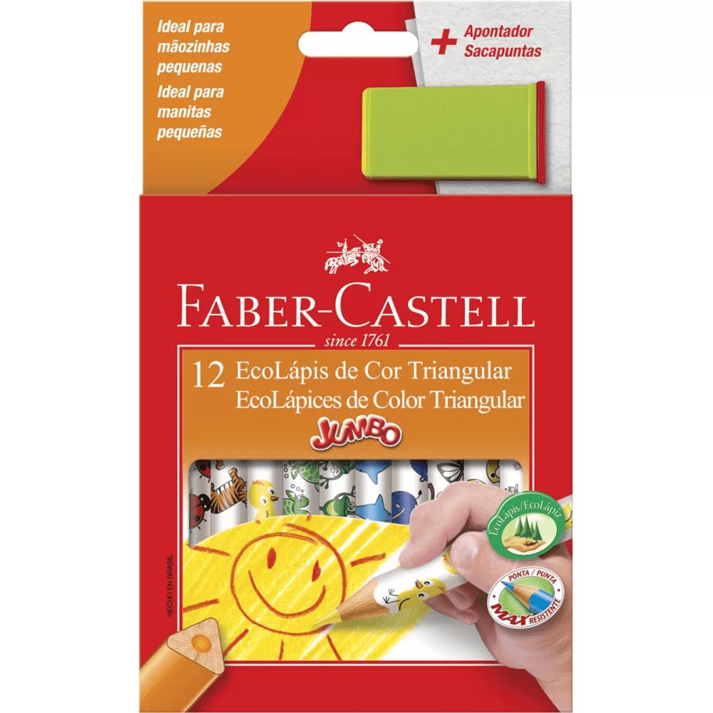Lápis de Cor 12 cores Jumbo triangular Faber Castell PT 1 UN