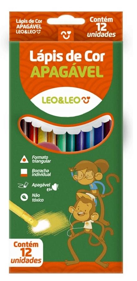 Lápis De Cor Apagavel 12 Cores Leo e Leo