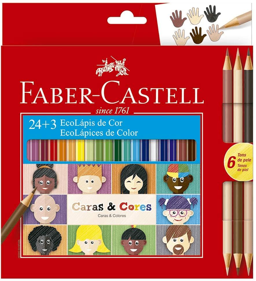 Lápis de Cor, Faber Castell Ecolápis Caras & Cores 24 Cores + 3 Tons de Pele