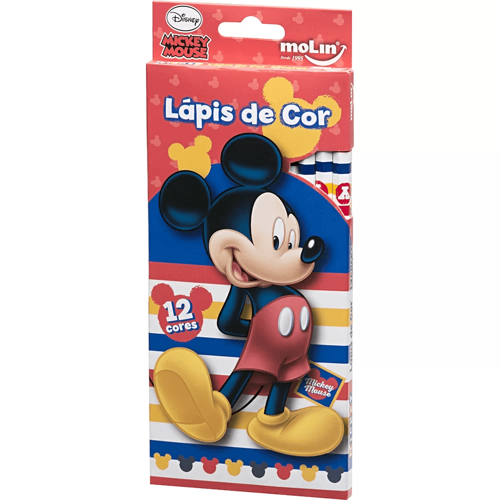 Lapis de Cor Mickey Mouse CX12 Cores Molin