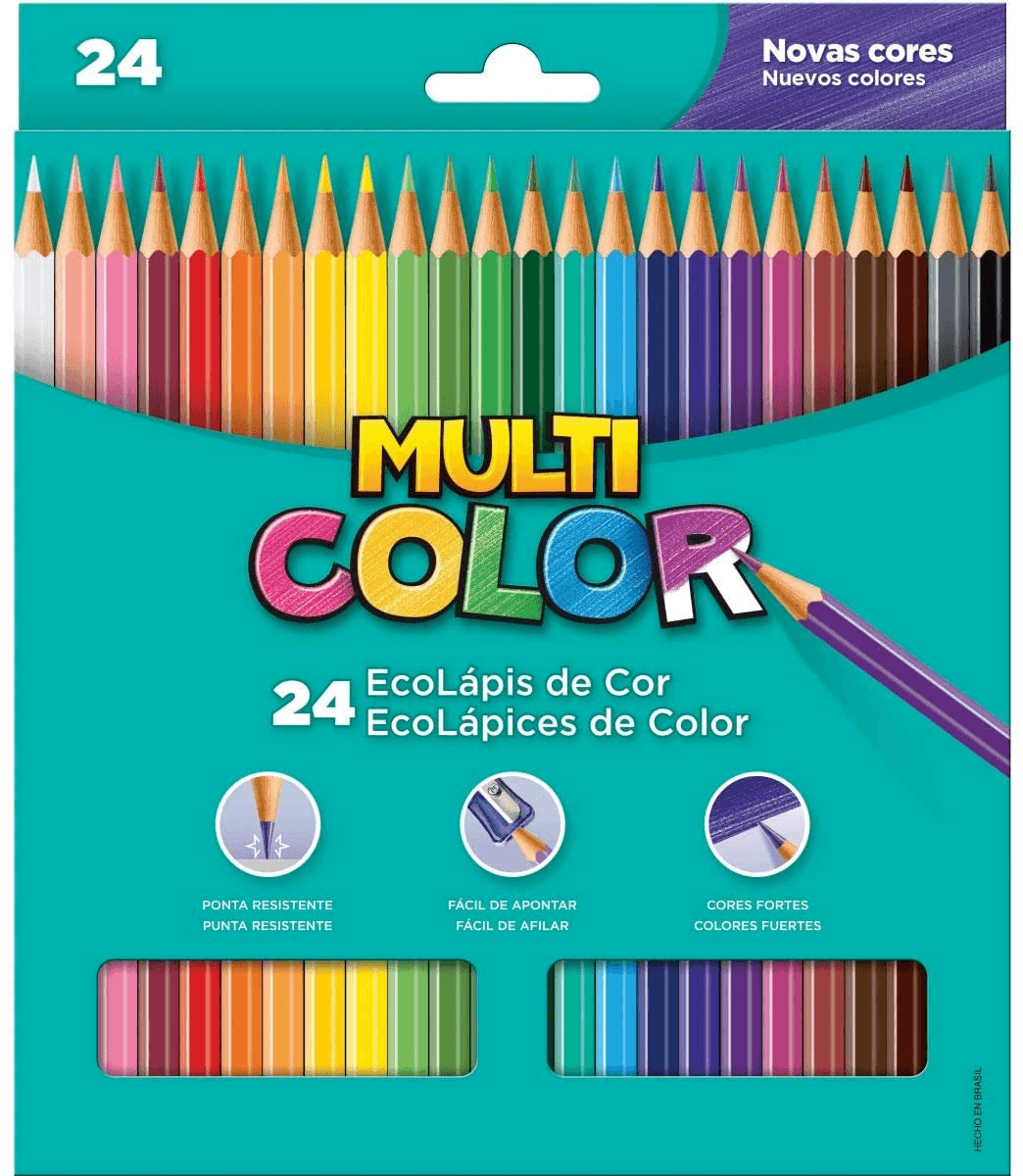 Lapis De Cor Sextavado Multicolor Super Eco 24 cores