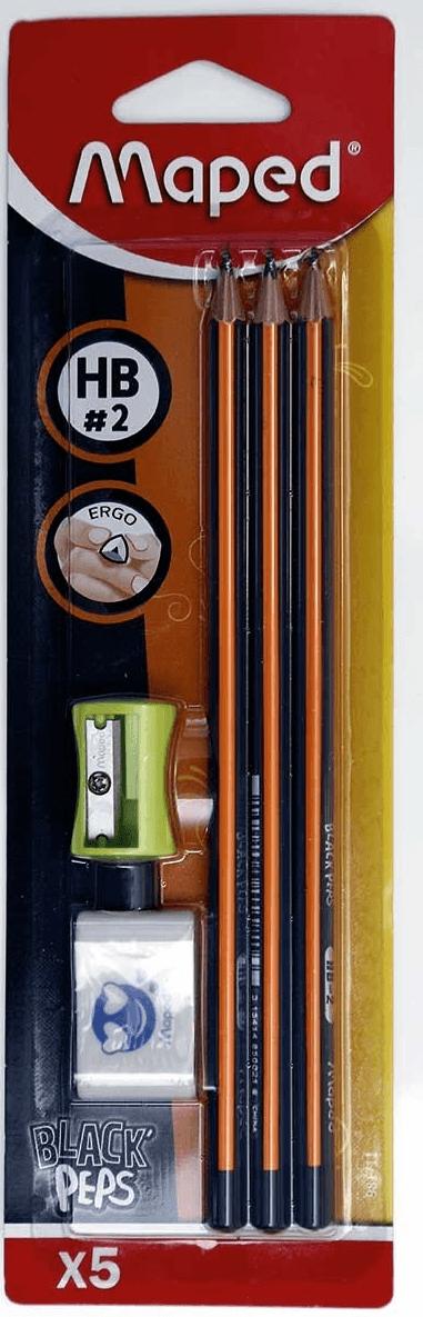 Lápis HB nº2 com borracha e apontador black peps maped ergo