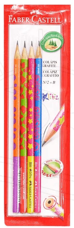 Lápis preto n.2 redondo Glitz Faber Castell BT 4 UN