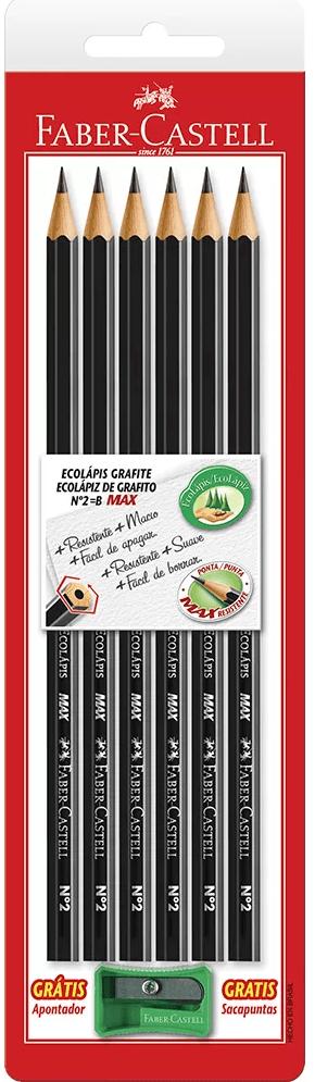 Lápis preto n.2 sextavado c/apontador SM1205SAP Faber Castell BT 6 UN