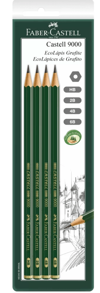 Lápis preto técnico HB / 2B / 4B / 6B SMC9000MIX Faber Castell BT 4 UN