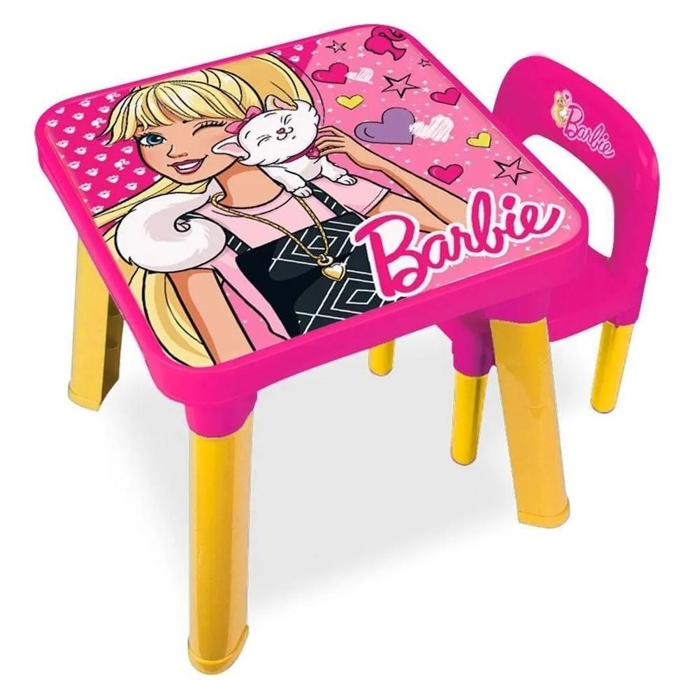 Mesa Com Cadeira Infantil Barbie - Fun