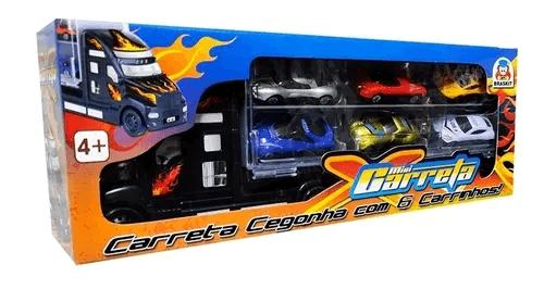 Mini Carreta Caminhão Cegonha Brinquedo +6 Carrinhos Braskit