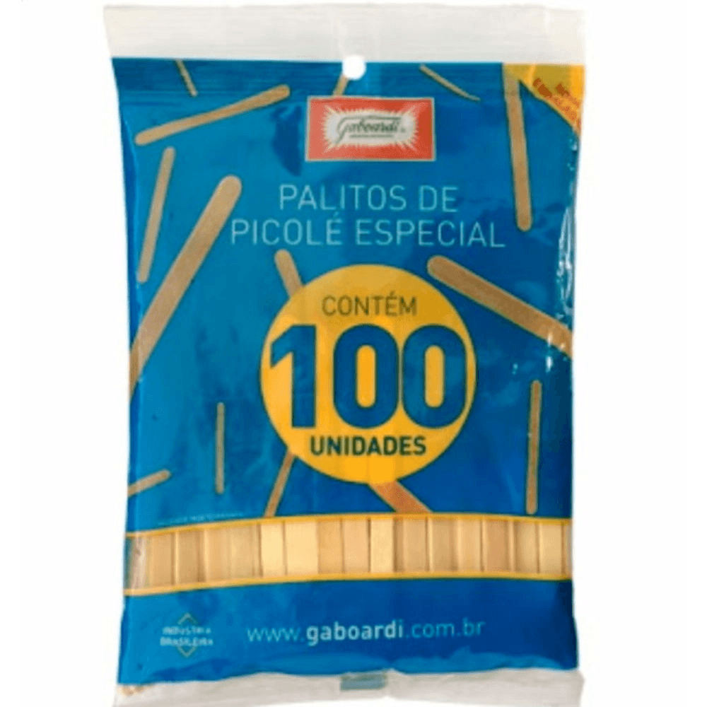 Palitos De Sorvete Com Ponta Arredondada - PCT 100 UN