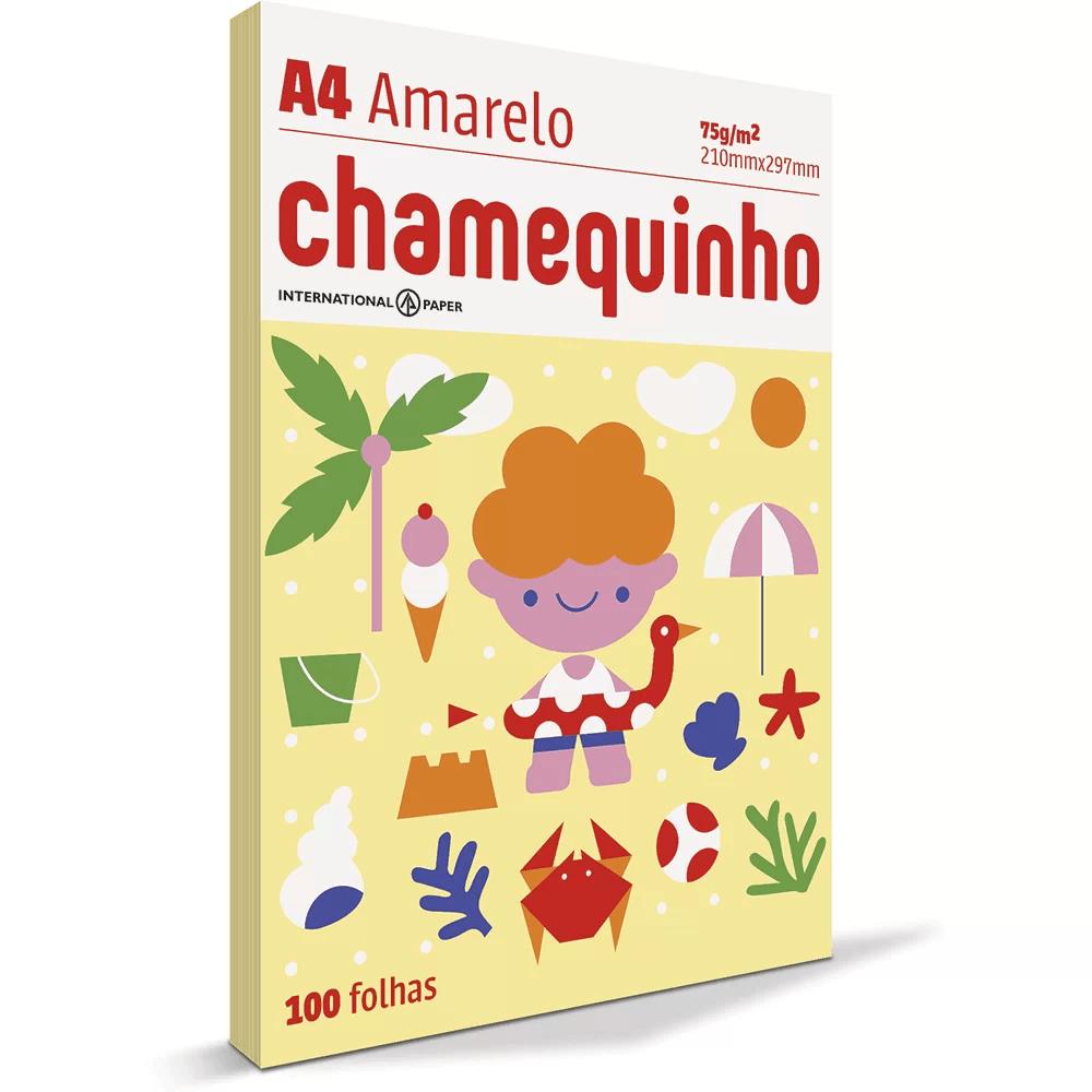 Papel sulfite Chamequinho Amarelo A4 75g 210mmx297mm Ipaper PT 100 FL - 1