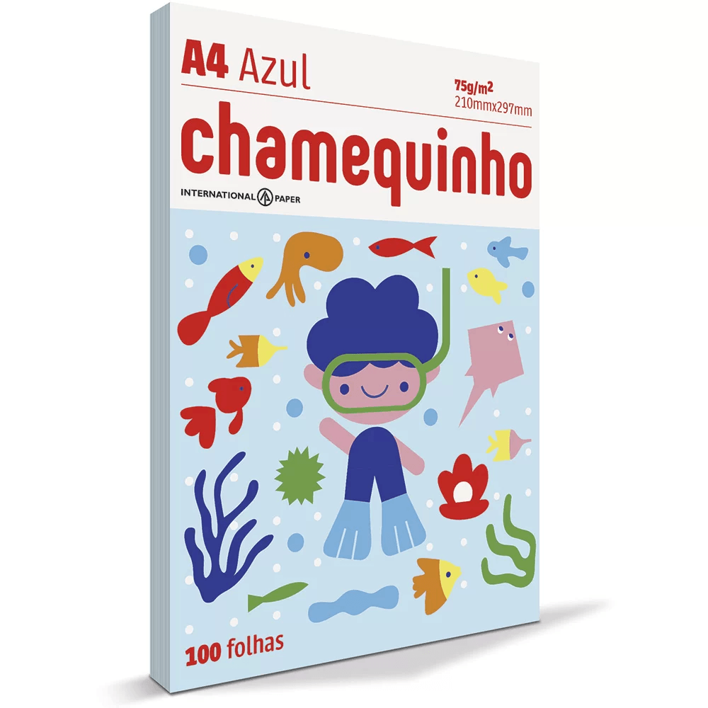 Papel sulfite Chamequinho Azul A4 75g 210mmx297mm Ipaper PT 100 FL