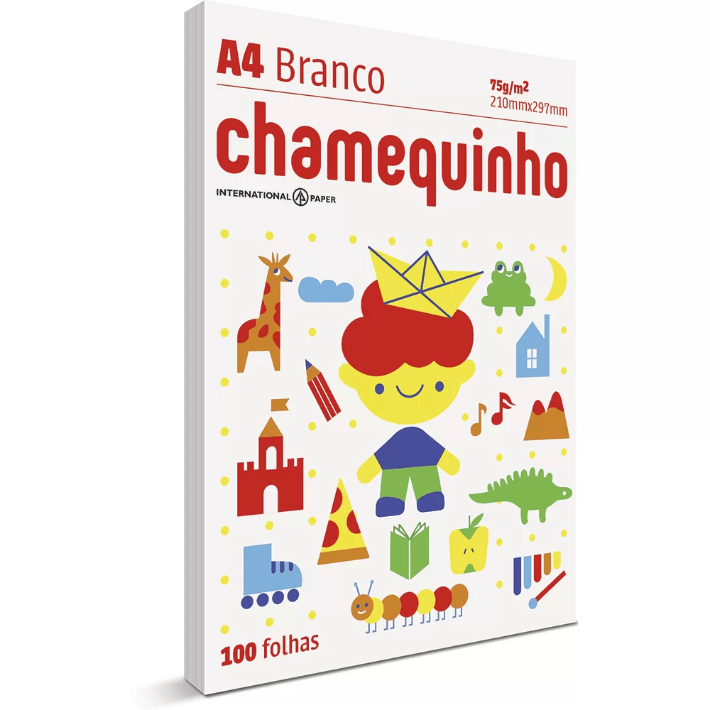 Papel sulfite Chamequinho Branco A4 75g 210mmx297mm Ipaper PT 100 FL