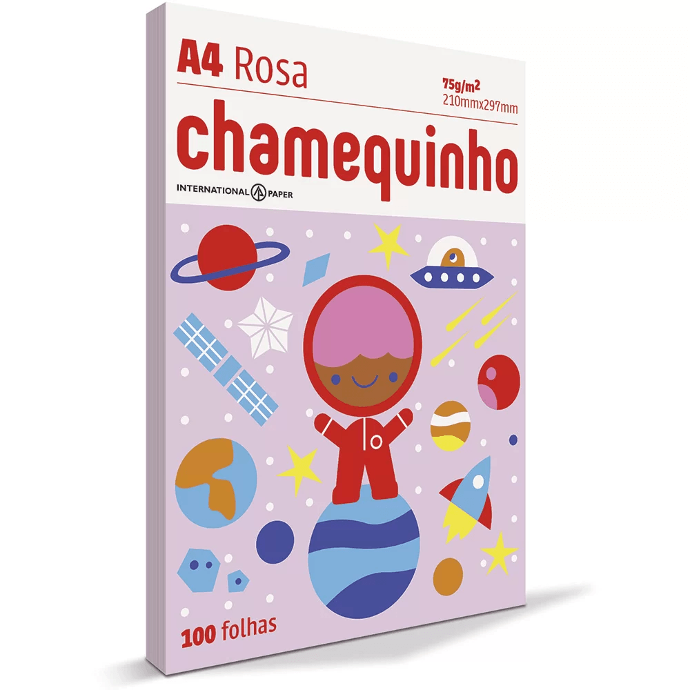 Papel sulfite Chamequinho Rosa A4 75g 210mmx297mm Ipaper PT 100 FL