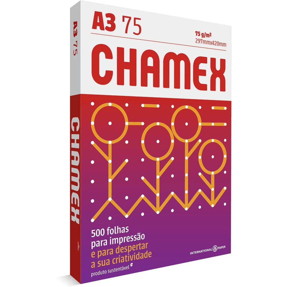 Papel sulfite Chamex A3 75g 297mmx420mm Ipaper PT 500 FL