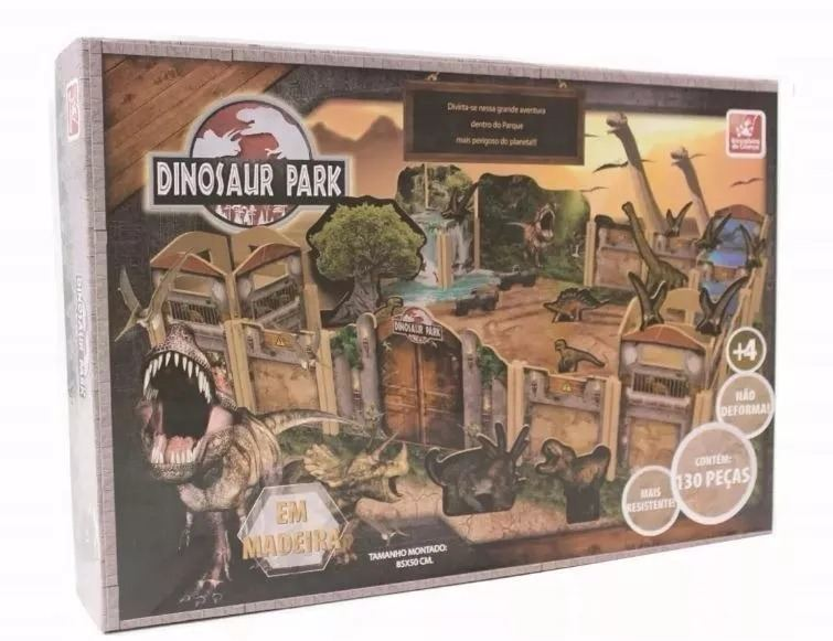 Parque dos Dinossauros - Brinquedo para Montar em Madeira 130 Peças