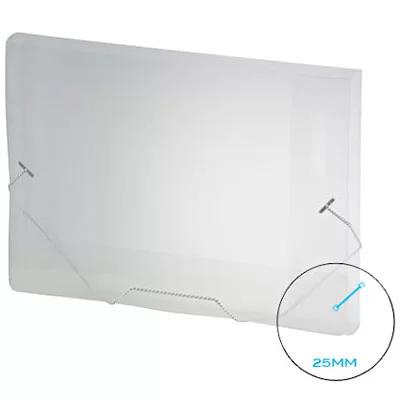 Pasta com aba elástico polipropileno 1/2 Ofício - 25mm transparente A025 Plascony PT 1 UN