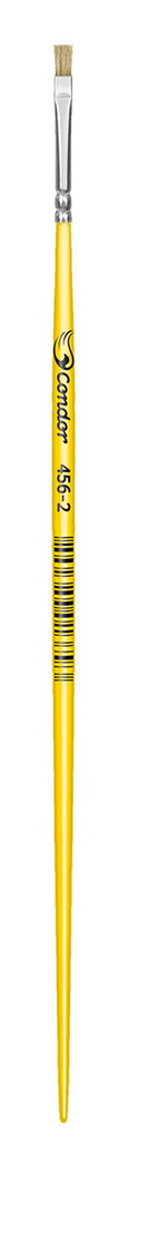 Pincel Chato Cerda Natural Cabo Longo Amarelo 456 Nº2 - Condor