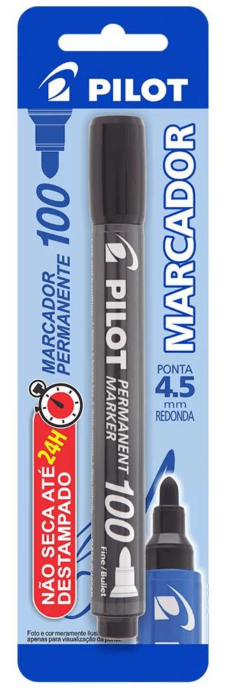 Pincel marcador permanente 4.5mm redondo SCA 100 preto Pilot BT 1 UN