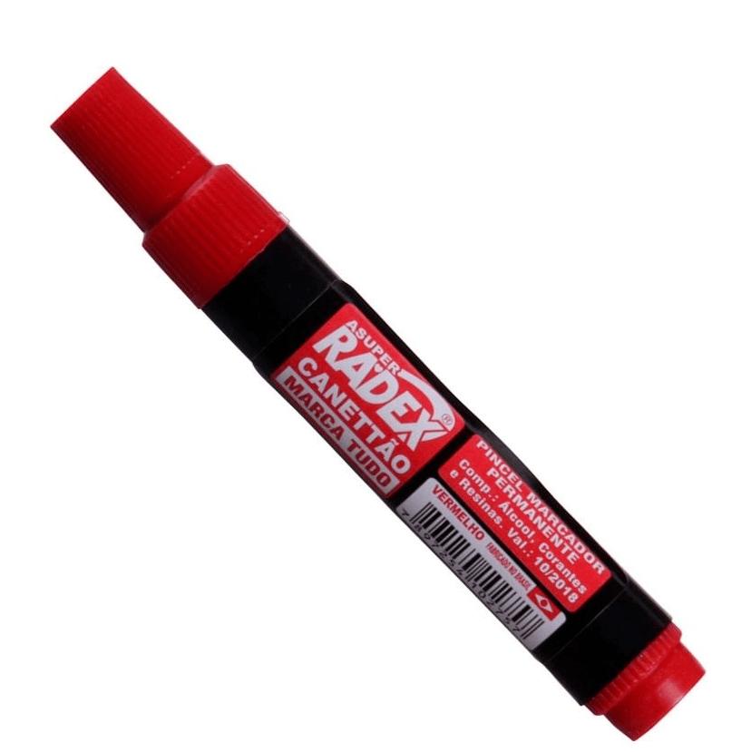 Pincel Marcador Permanente Atômico Vermelho - Radex