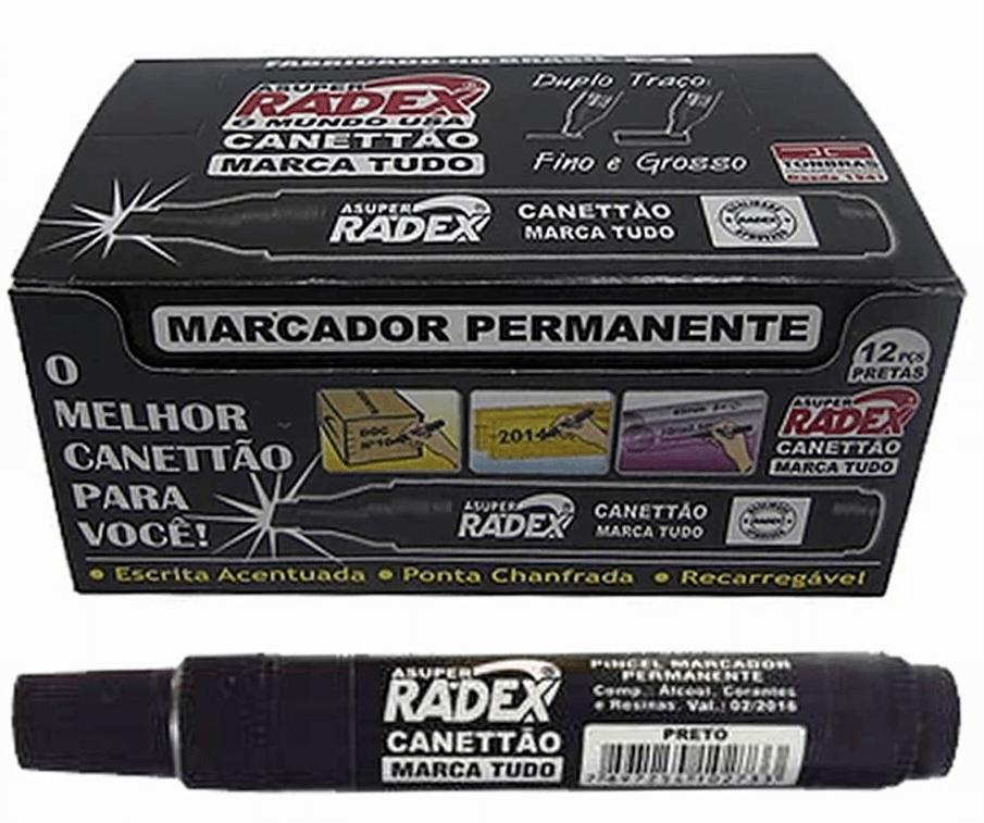 Pincel Permanente Atômico Radex Preto Cx C/ 12 Un